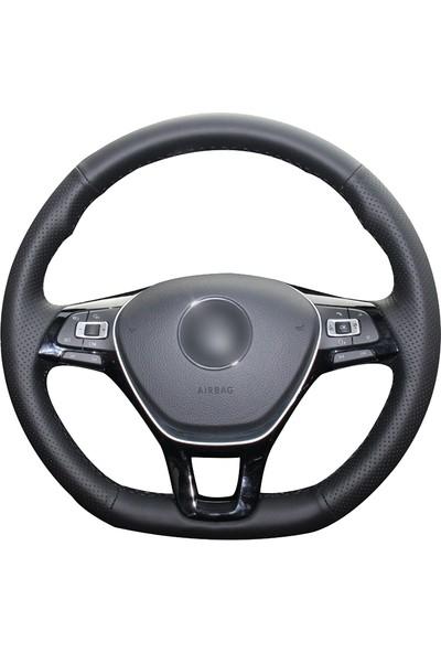 Fox Volkswagen Jetta 2011- Siyah Deri Direksiyon Kılıfı (VW-008)