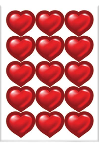 Keskin Color 8*12 Damla Çıkartma-Kırmızı Kalpler
