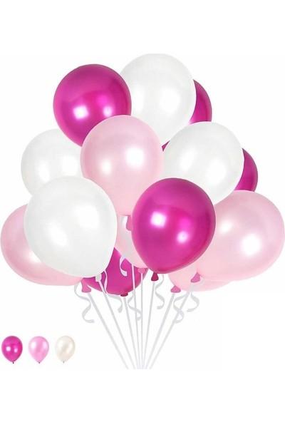 Happy Land 10 Pembe 10 Fuşya 10 Beyaz Konsept Balon Metalik Parlak Sedefli 30-35 cm