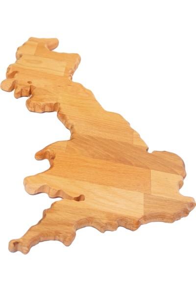Goodbutwood Brexit | İngiltere Şeklinde Doğal Ahşap Et, Peynir Sunum Tahtası