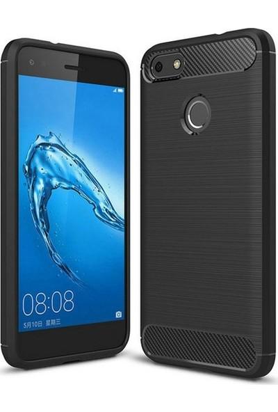 Ehr. Huawei P9 Lite Mini Kılıf Carbon Brushed Soft TPU Silikon Huawei P9 Lite Mini Kılıf Siyah