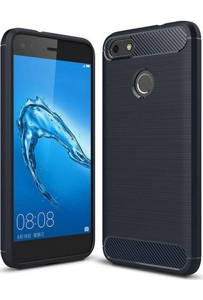 Ehr. Huawei P9 Lite Mini Kılıf Carbon Brushed Soft TPU Silikon Huawei P9 Lite Mini Kılıf Lacivert