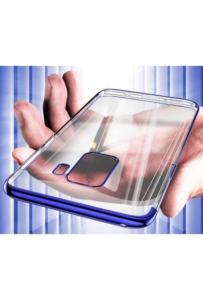 Ehr. Samsung Galaxy A9 2018 Lüks Lazer Kaplama Soft TPU Kılıf Mavi