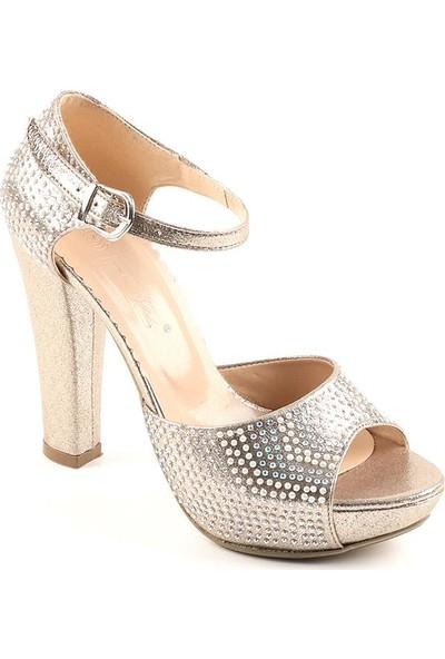 Föz Altın Taşlı Platform Kadın Topuklu Ayakkabı
