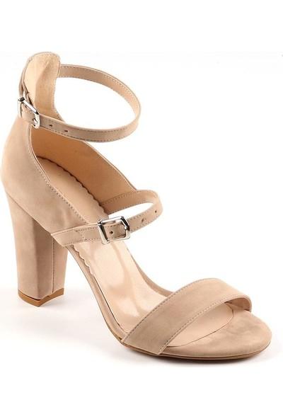 Föz Bej Süet Çift Kemer Kadın Topuklu Ayakkabı