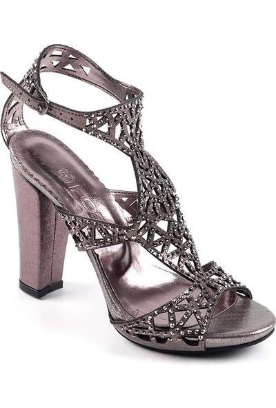 Föz Füme Taşlı Lazer Kesim Kadın Topuklu Ayakkabı