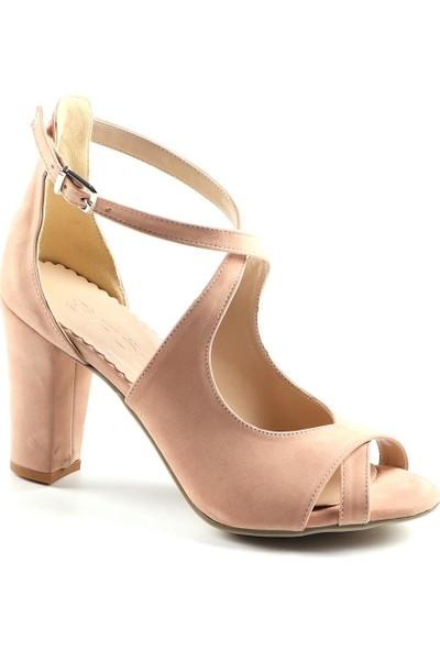 Föz Pudra Süet Çapraz Bant Kadın Topuklu Ayakkabı