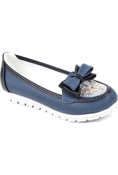 Elmonta 010 Lacivert Günlük Abiye Cilt Kız Çocuk Babet Ayakkabı