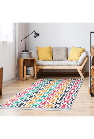 Ahsen Halı PVC Deri Taban Kaydırmaz Renkli Pramit Desen Halı