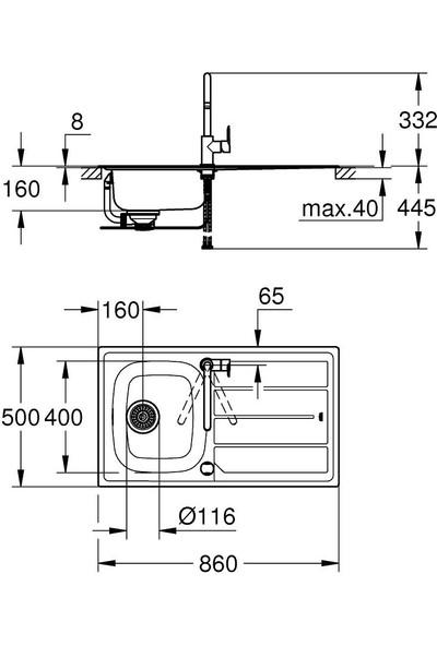 Grohe Bau K200 Eviye ve Batarya Seti - 31562SD0