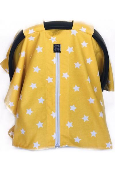 Pamuk Atölyesi Sarı Hardal Zemin Beyaz Yıldızlı Puset Örtüsü