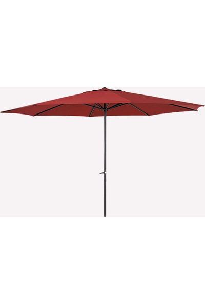 Bidesenal Bahçe Şemsiye Balkon Şemsiyesi Teras Şemsiyesi Şemsiye 4 Metre Maximum Ölçülerde Kırmızı