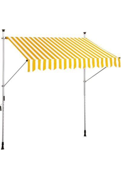Bidesenal Teleskopik Tente Sarı-Beyaz 250X130 Cm Güneşten Etkilenmez Tente