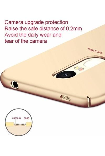 Casestore Samsung Galaxy A7 2017 Darbe Önleyici Rubber Sert Kılıf Gold + Nano Glass Ekran Koruyucu Film