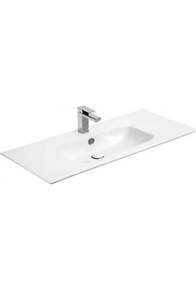 Sanovit Sharp 105 cm Konsollu Süper İnce Lavabo Beyaz Renk