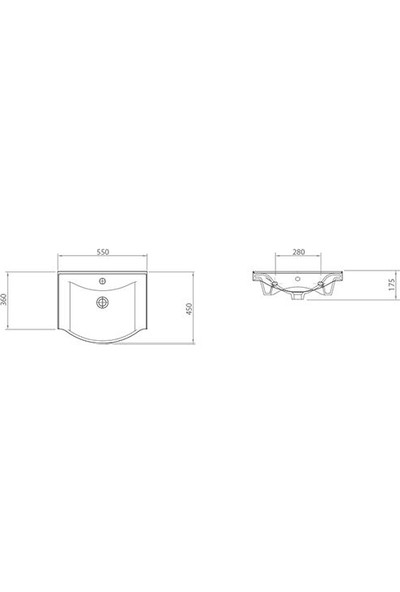 Lapino Basic 55 cm Konsollu Lavabo Beyaz Renk