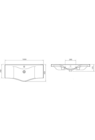 Lapino Basic 100 cm Konsollu Lavabo Beyaz
