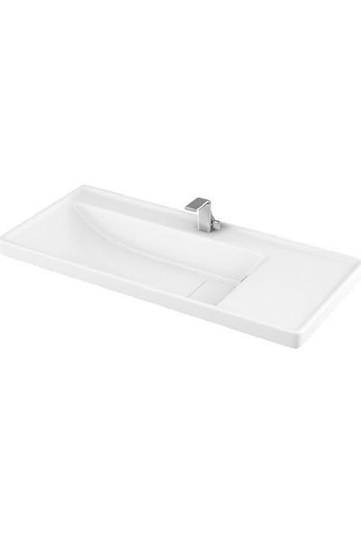 Lapino Quattro 100 cm Konsollu Etejerli Lavabo Beyaz Renk