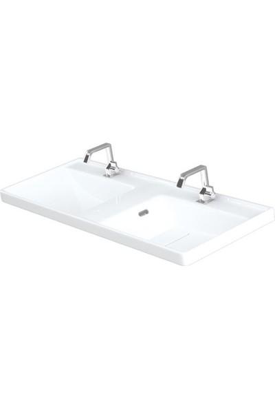 Lapino Quattro 120 cm Konsollu Etejerli Çift Bölme Lavabo Beyaz Renk