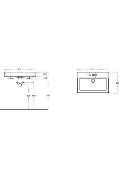 Lucco Stance 70 cm Konsollu Dikdörtgen Lavabo Beyaz