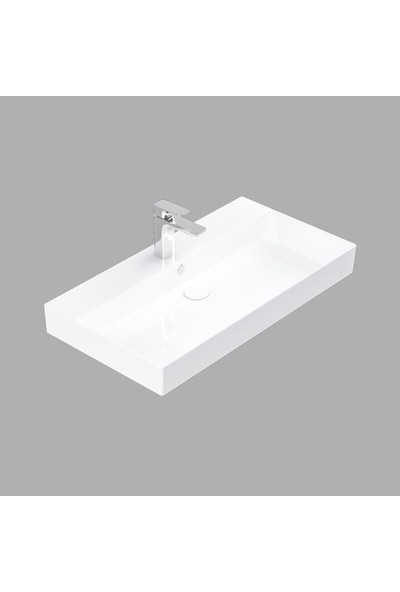 Lucco Stance 85 cm Konsollu Dikdörtgen Lavabo Beyaz
