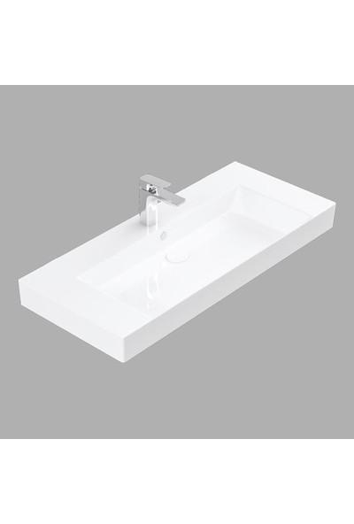 Lucco Stance 100 cm Konsollu Dikdörtgen Lavabo Beyaz
