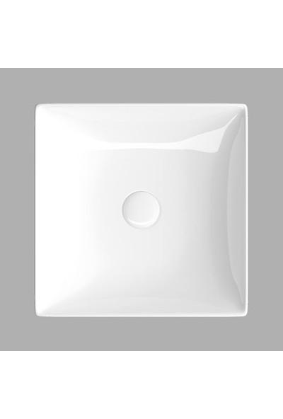 Lucco Decente 40 cm Tezgah Üstü Kare Lavabo Beyaz