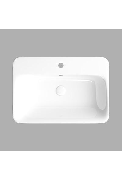 Lucco Mita 65 cm Tezgah Üstü Dikdörtgen Lavabo Beyaz