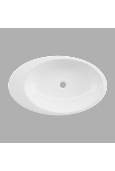 Lucco Gocce 74 cm Tezgah Üstü Elips Lavabo Beyaz