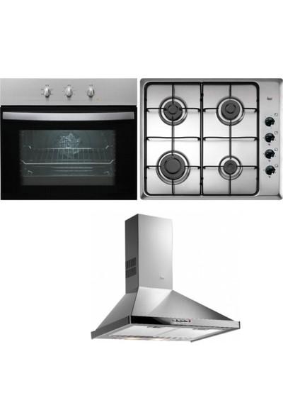 Teka Chef 1 Ankastre Set (HE 615 Fırın + HLX 60 4G AI AL Ocak + DF 60 Davlumbaz)