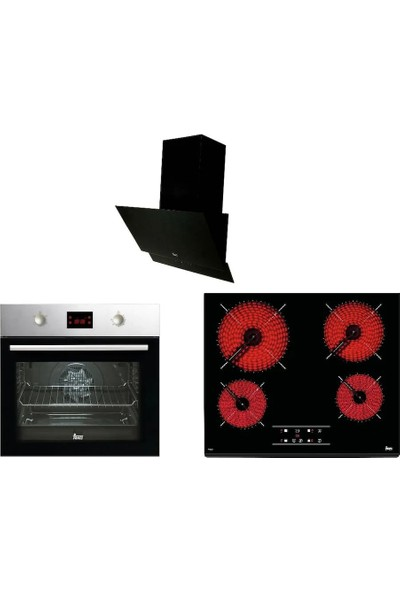 Teka Chef 5 Ankastre Set (HEB 627 Fırın + TZ 6415 Cam Ocak + ATV 60 Davlumbaz)