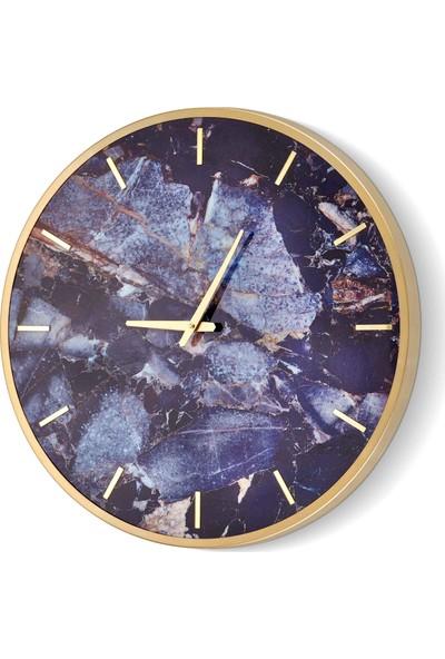 The Mia Duvar Saati Marble - Mavi 60*60 cm