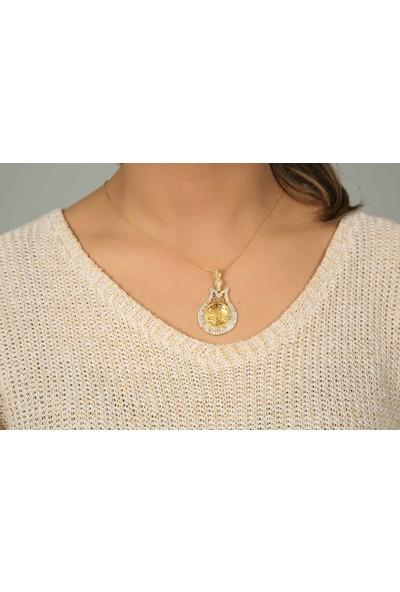 Midyat Gümüş Dünyası 2020153 Lale Model Osmanlı Tuğralı Altın Yaldızlı Gümüş Bayan Kolye