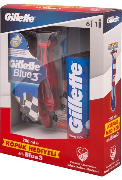 Gillette Blue3 Milli Takım Özel Paketi 6'lı Tıraş Bıçağı + 200 ml Tıraş Köpüğü