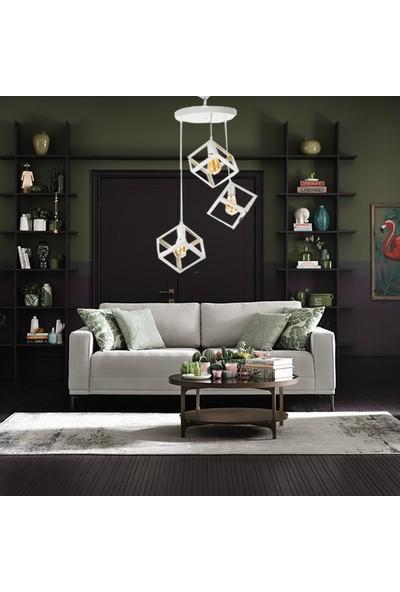 Hepsiniver Home Kare Geometrik 3'Lü Küp Sarkıt Beyaz Galata Model Oturma Odası Yatak Odası Salon Ofis Avizesi