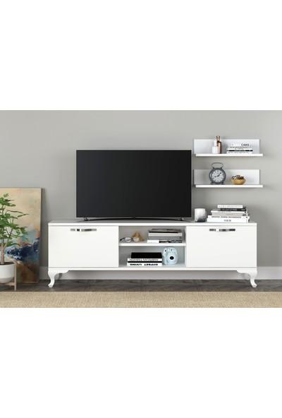 Sanal Mobilya Ezo Rafli Kapakli Tv Üni̇tesi̇ Beyaz