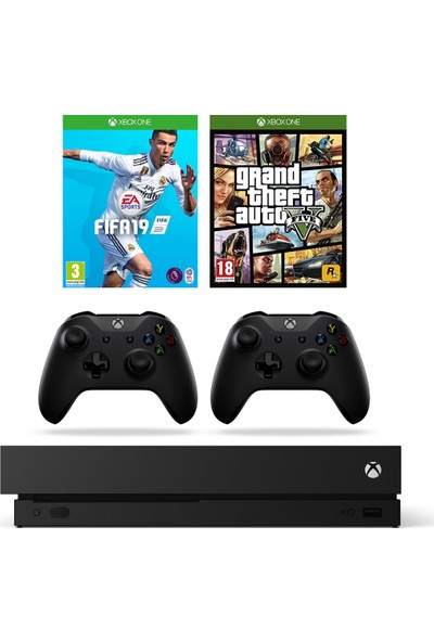 Microsoft Xbox One X 1 Tb Oyun Konsolu + Fifa 19 + Gta 5 + 2. Kol