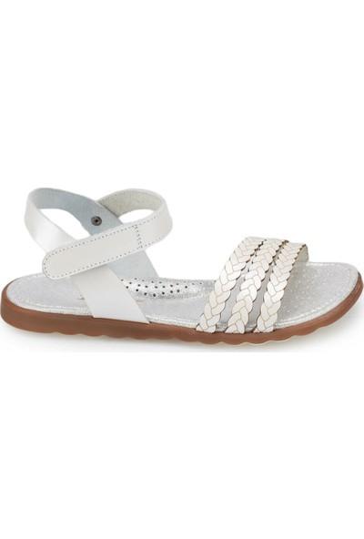 Polaris 91.511351.F Beyaz Kız Çocuk Deri Sandalet