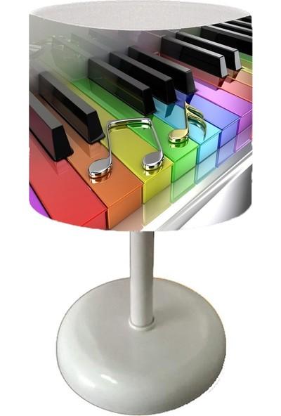 Cici Halı Renkli Piyano ve Melodi Nesneler Çocuk Bebek Odası Abajur