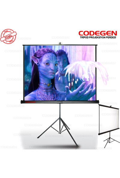 Codegen TX-18 180x180 Tripod İthal Projeksiyon Perdesi (Arkası Siyah Fonlu)