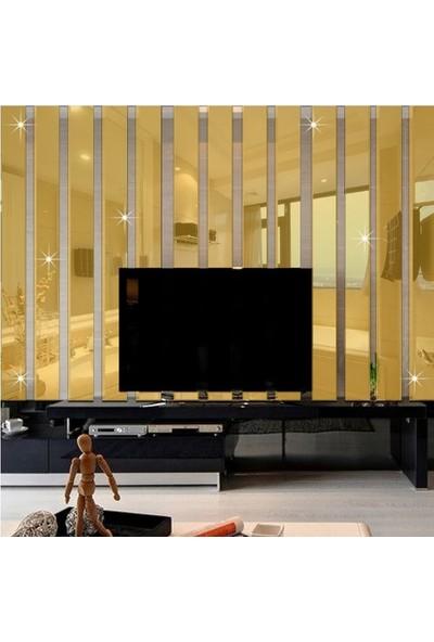 Kıraç Dekoratif Duvar Dekorasyon Dikdörtgen Desen Ayna Pleksi 10 Adet