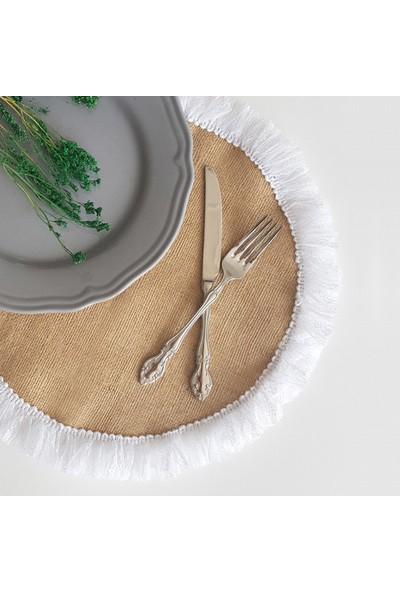 Funbou Püskül dantelli yuvarlak jüt supla / 2 adet