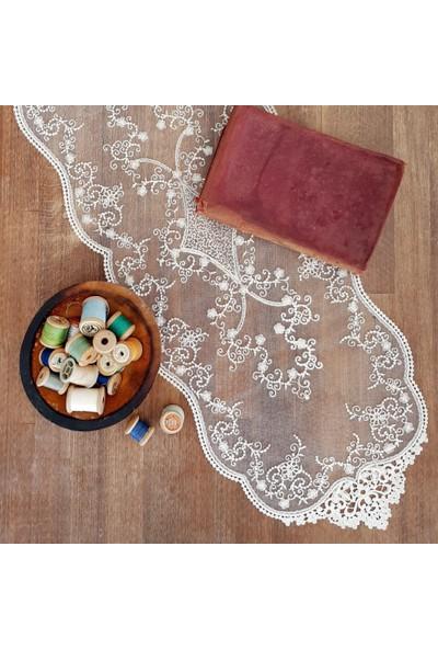 Funbou Dantel örtü, pearl (30x80 cm)