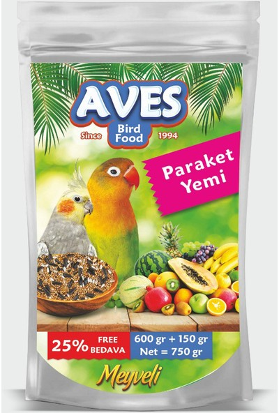 Aves Paraket, Sultan, Cennet Papağanı Yemi 750 gr x 6 Adet
