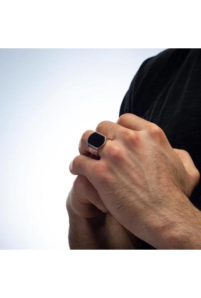 Anı Yüzük Sade Model Siyah Oniks Taşlı Gümüş Erkek Yüzük