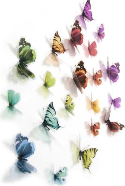 Bundera Kelebek Sticker 3D Duvar Süsü Üç Boyutlu