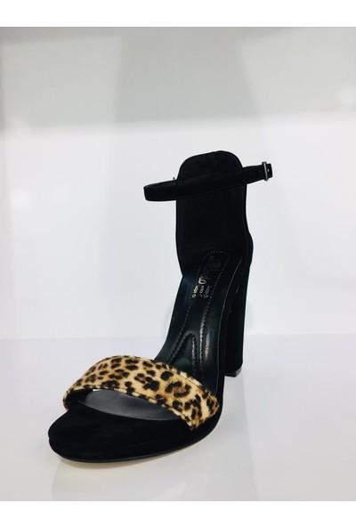 Cudo Leopar Desenli Tek Bant Yüksek Topuklu Kadın Ayakkabı