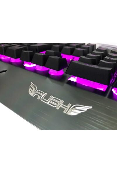 Rush RK707 LED Işıklı Metal Oyuncu Gaming Mekanik Hisli Klavye