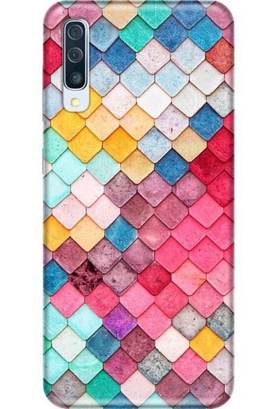 Svart Case Samsung Galaxy A50 Renkli Taşlı Silikon Telefon Kılfı