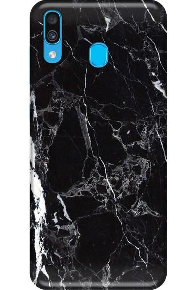 Svart Case Samsung Galaxy A30 Siyah Mermer Silikon Telefon Kılıfı
